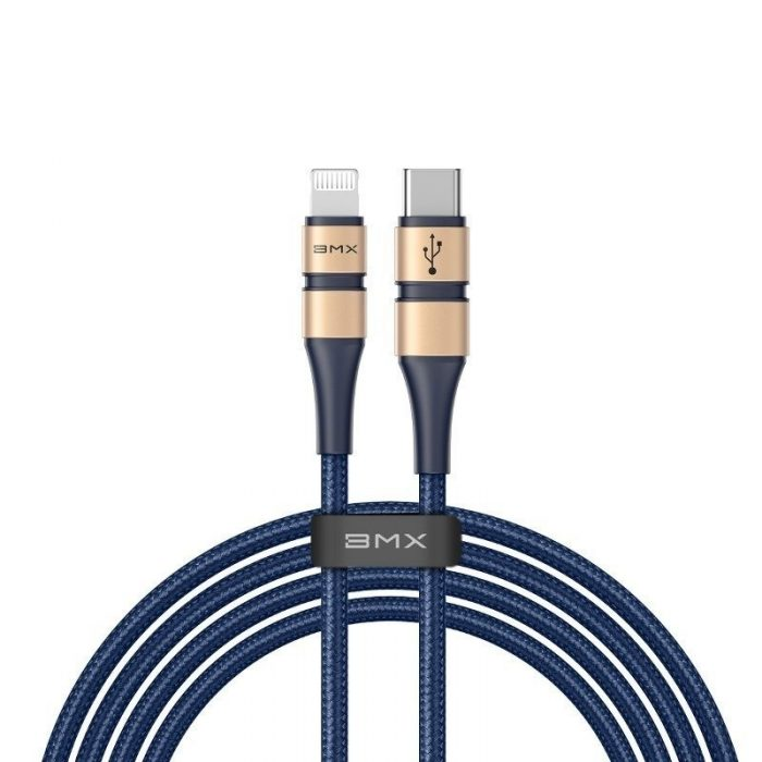 BMX Double-deck MFi certified Cable Type-C to Lightning PD 18W 1.8m Gold+Blue - BASEUS 6928548565246