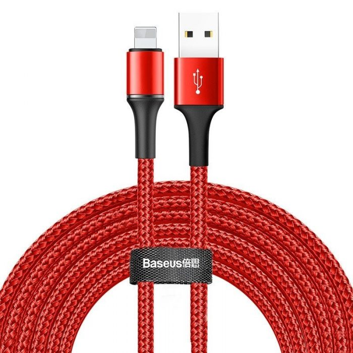 Baseus halo data cable USB For iP 2A 3m Red - BASEUS 6953156210387