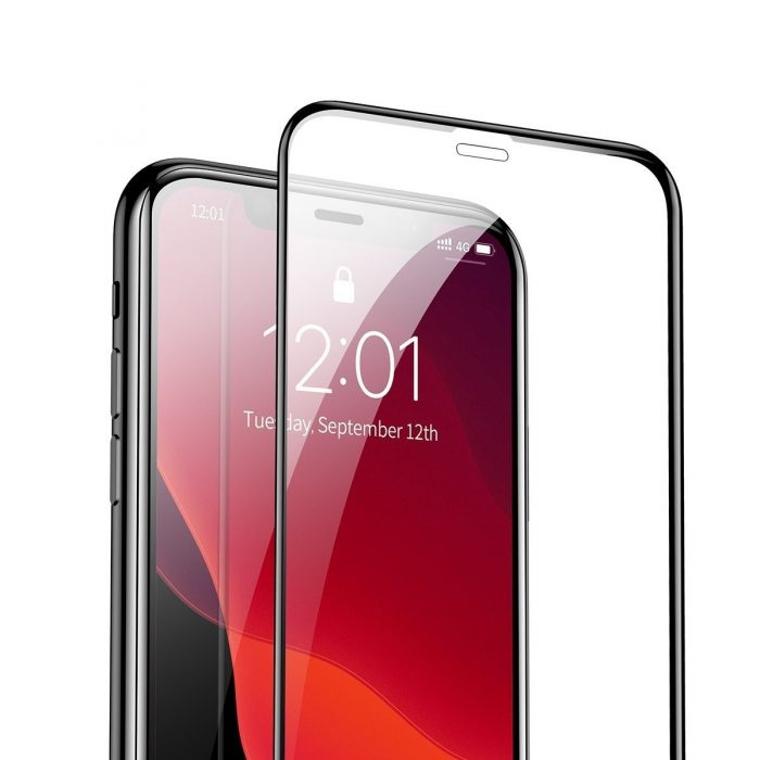 baseus 0.3mm full-screen and full-glass tempered glass film(2pcspack+pasting artifact) for ipx/xs/11 pro 5.8inch(2019)black - baseus 6953156211759 5