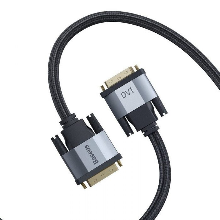 baseus enjoyment series dvi male to dvi male bidirectional adapter cable 2m dark gray - baseus 6953156216204 1
