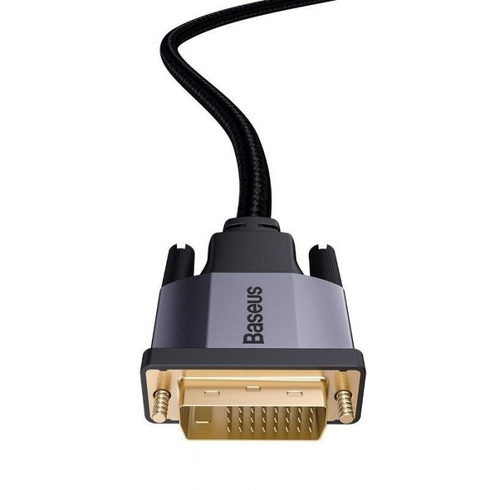 baseus enjoyment series dvi male to dvi male bidirectional adapter cable 2m dark gray - baseus 6953156216204 3
