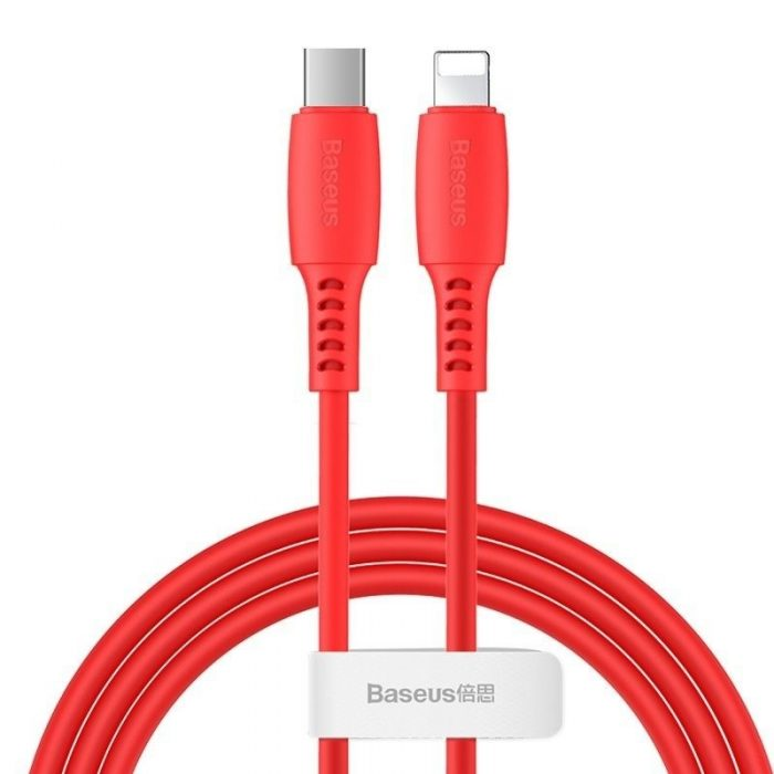Baseus Colourful Cable Type-C For iP 18W 1.2m Red - BASEUS 6953156216341