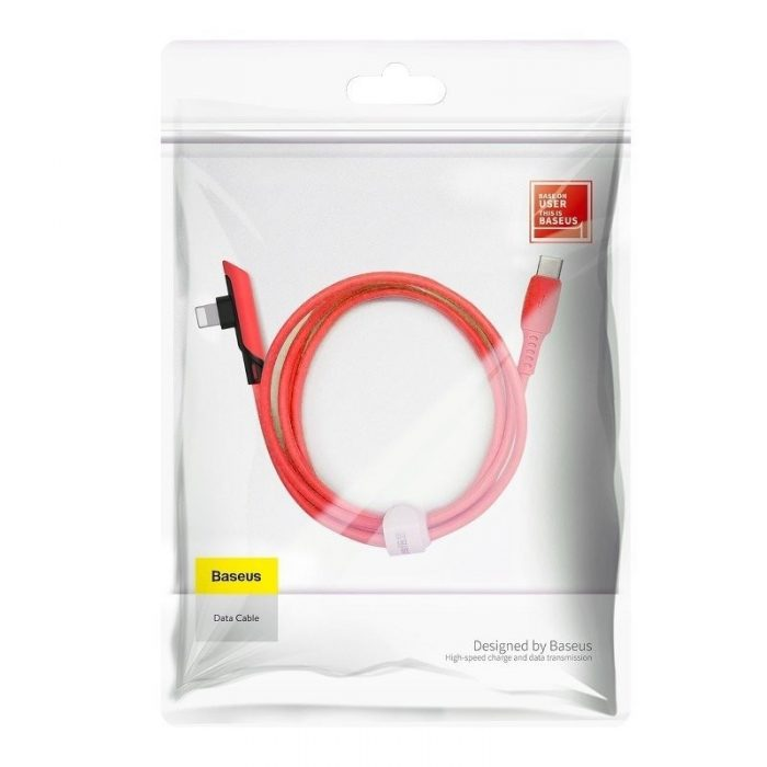 Baseus Colourful Elbow Type-C to iP Cable PD 18W 1.2m Red - BASEUS 6953156216587 5