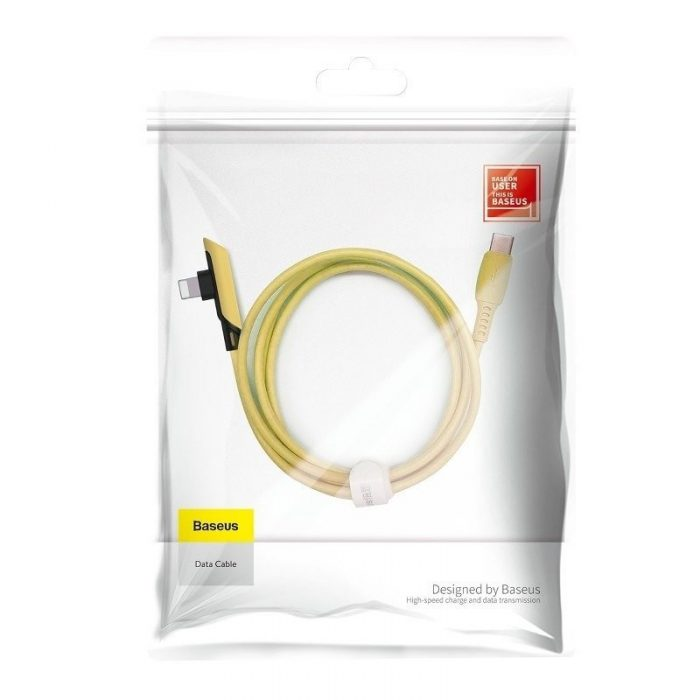 Baseus Colourful Elbow Type-C to iP Cable PD 18W 1.2m Yellow - BASEUS 6953156216594 6