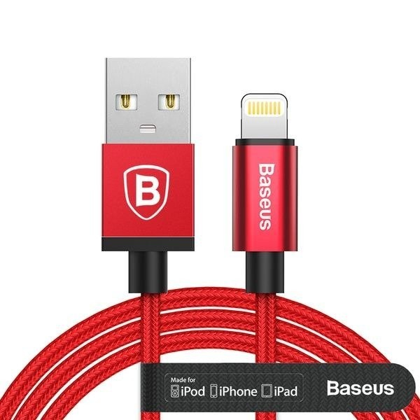 Baseus Antila MFI Lightning Cable 1m 2.4A Red - BASEUS 6953156258761