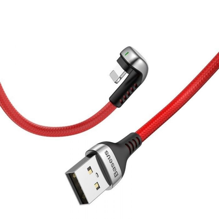 Baseus Green U-shaped lamp Mobile Game Cable USB-A to Lightning 1.5A 2m Red - BASEUS 6953156284685 2