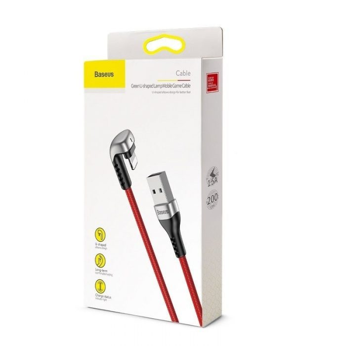 Baseus Green U-shaped lamp Mobile Game Cable USB-A to Lightning 1.5A 2m Red - BASEUS 6953156284685 6