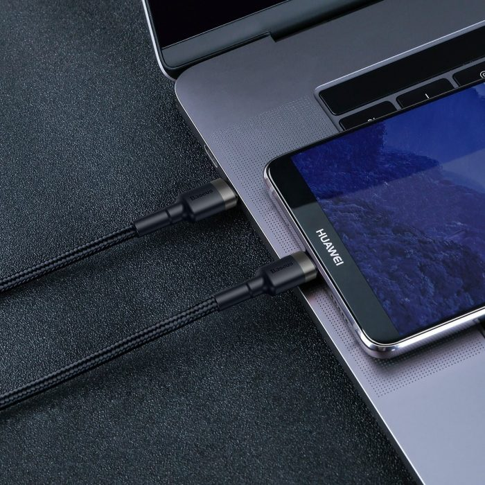 baseus cafule pd2.0 60w flash charging usb for type-c cable (20v 3a) 2m gray+black - baseus 6953156285231 6 1