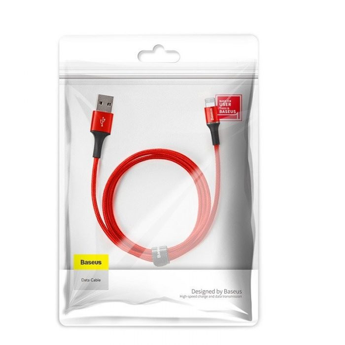 Baseus halo data cable USB For iP 1.5A 2m Red - BASEUS 6953156292611 1