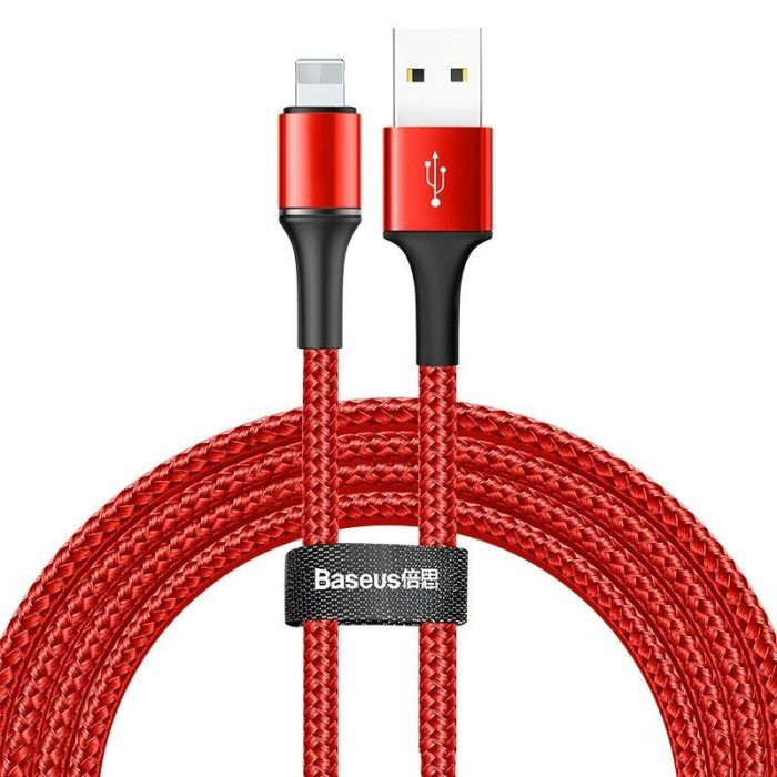 Baseus halo data cable USB For iP 1.5A 2m Red - BASEUS 6953156292611
