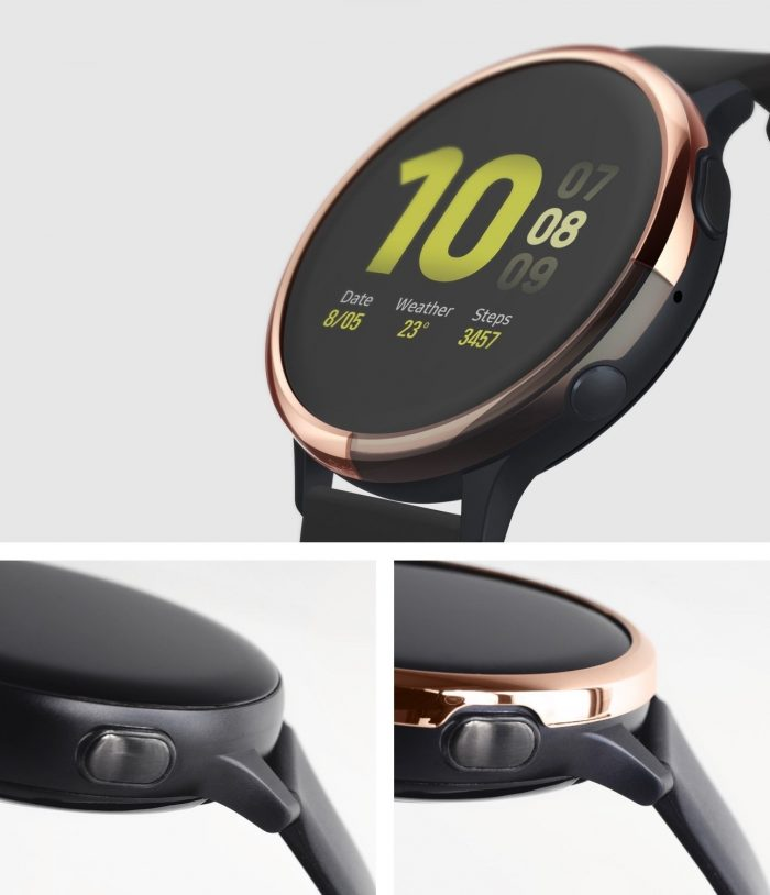 ringke bezel styling samsung galaxy watch active 2 40mm stainless glossy rose gold gwa2-40-02 - ringke 8809688893537 2