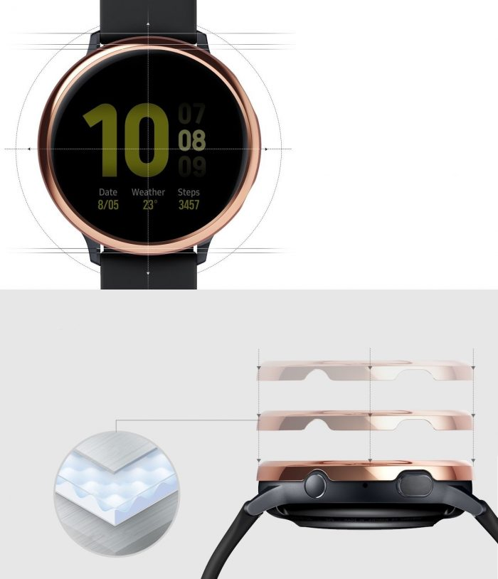 ringke bezel styling samsung galaxy watch active 2 40mm stainless glossy rose gold gwa2-40-02 - ringke 8809688893537 3