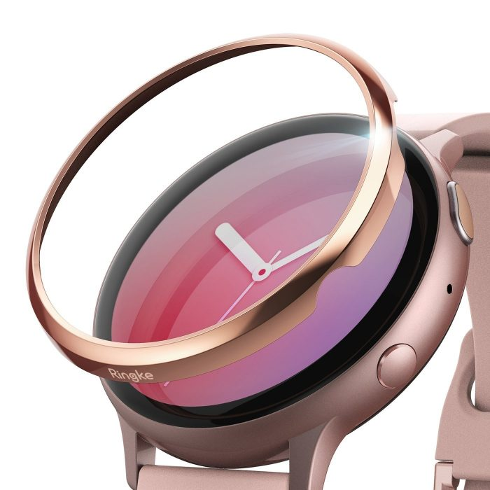 ringke bezel styling samsung galaxy watch active 2 44mm stainless glossy rose gold gwa2-44-02 - ringke 8809688893551
