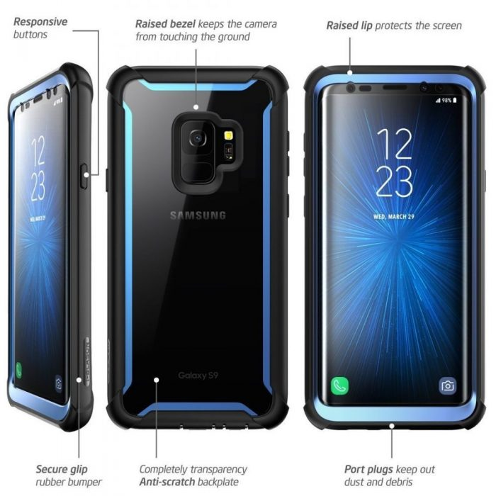 supcase iblsn ares galaxy s9 black/blue - supcase 843439100312 2 1