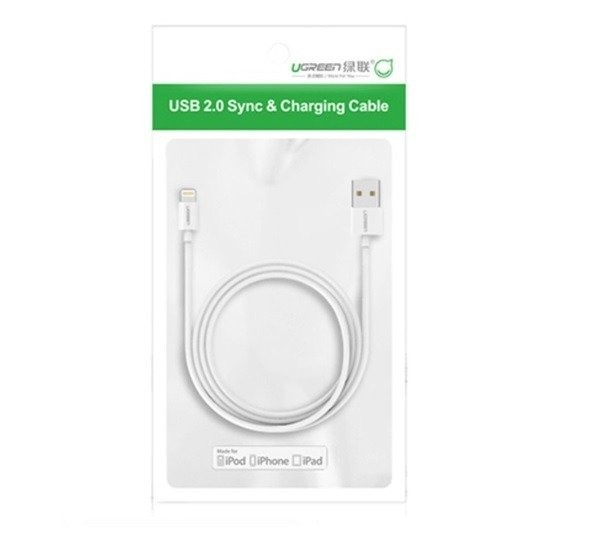 Nickel Plated Lightning Cable UGREEN MFi 0,5m White - UGREEN 6957303827275 2