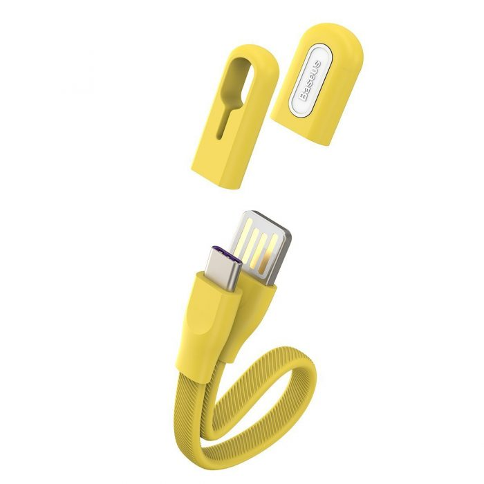 Baseus USB Cable (double-sided plug) - USB Type C 5A 22cm (yellow) - export 360