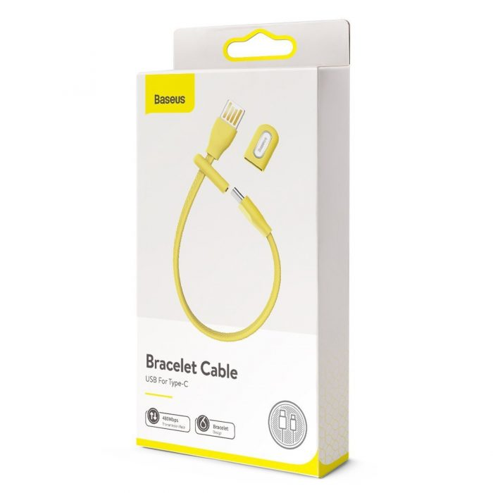 Baseus USB Cable (double-sided plug) - USB Type C 5A 22cm (yellow) - export 364