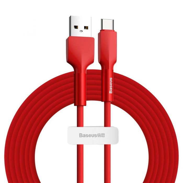 Baseus Silica Gel USB USB-C Cable 3A 2m Red - export 380