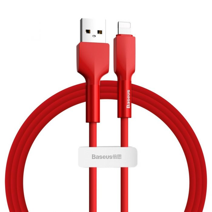 Baseus Silica Gel USB Lightning Cable 2.4A 1m Red - export 411
