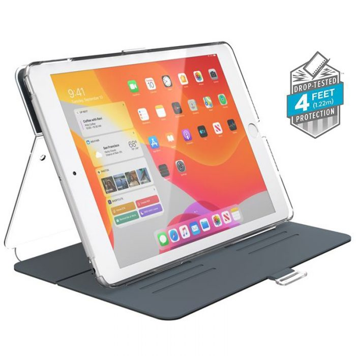 speck balance folio clear - kryt ipad 10.2 w/magnet & stand up (gunmetal grey/clear) - export 2229