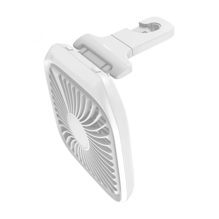 baseus foldable vehicle-mounted backseat fan car headrest micro usb windmill white - export 151