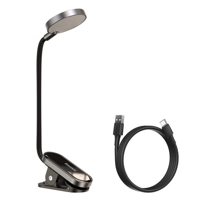baseus (dgrad-0g) comfort reading mini clip lamp (dark gray) - export 169