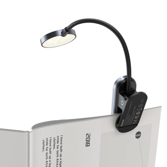 baseus (dgrad-0g) comfort reading mini clip lamp (dark gray) - export 171