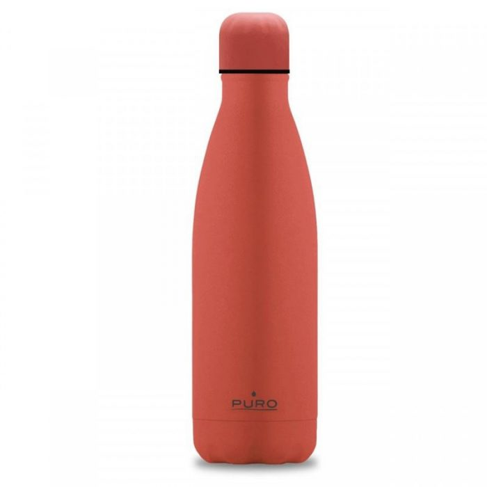 puro icon thermal stainless steel water bottle 500ml (living coral) (silicon coating) - export 2120