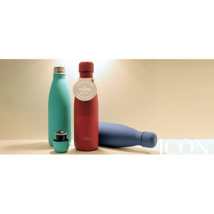 puro icon thermal stainless steel water bottle 500ml (living coral) (silicon coating) - export 2121