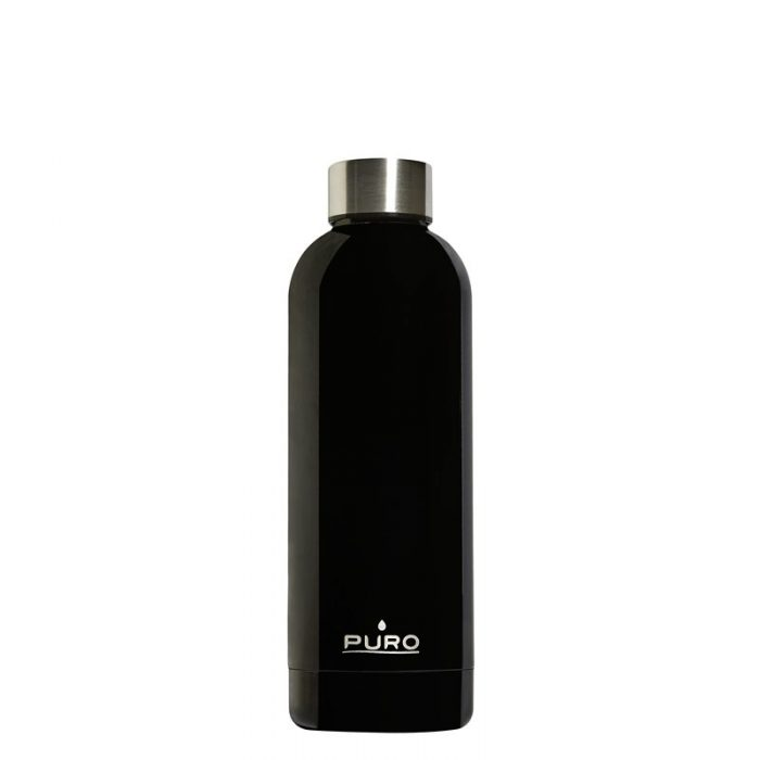 puro hot&cold thermal stainless steel water bottle 500ml (shiny black) - export 2123