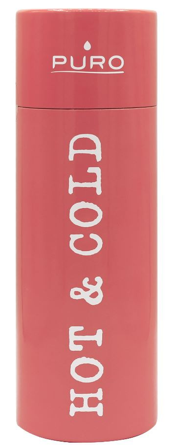 puro hot&cold thermal stainless steel water bottle 500ml (light orange) - export 2131