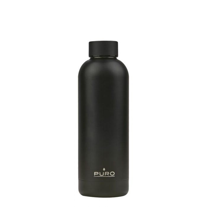 puro hot&cold thermal stainless steel water bottle 500ml (metallic black) - export 2137