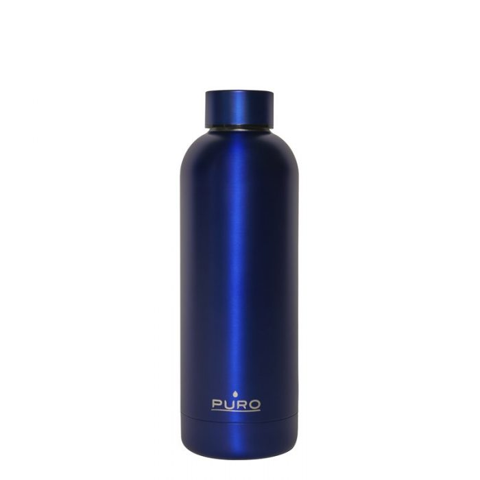 puro hot&cold thermal stainless steel water bottle 500ml (metallic deep blue) - export 2140