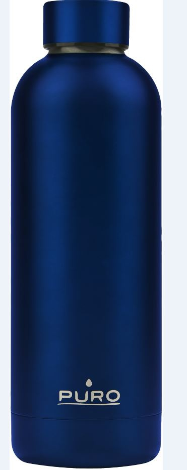 puro hot&cold thermal stainless steel water bottle 500ml (metallic deep blue) - export 2141