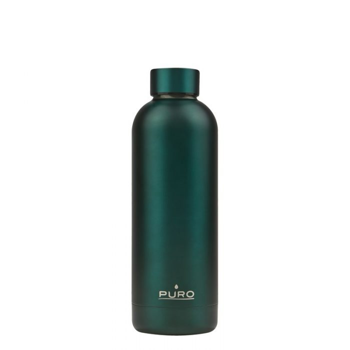 puro hot&cold thermal stainless steel water bottle 500ml (metallic dark green) - export 2144