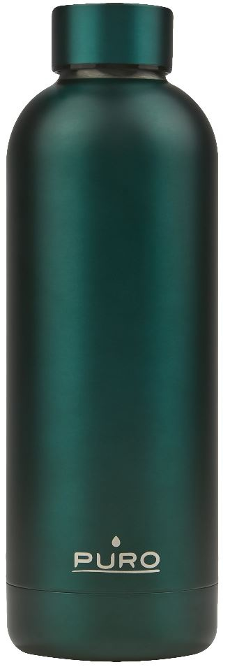 puro hot&cold thermal stainless steel water bottle 500ml (metallic dark green) - export 2146