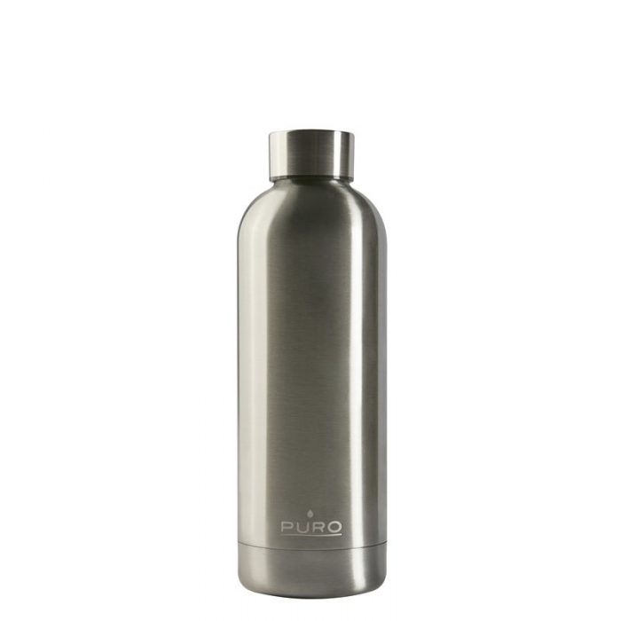 puro hot&cold thermal stainless steel water bottle 500ml (metallic silver) - export 2149