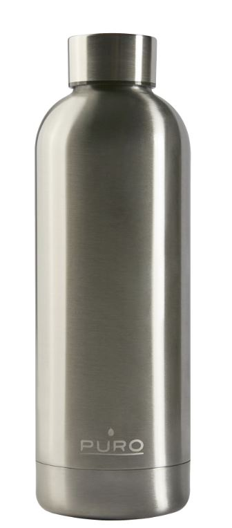 puro hot&cold thermal stainless steel water bottle 500ml (metallic silver) - export 2150