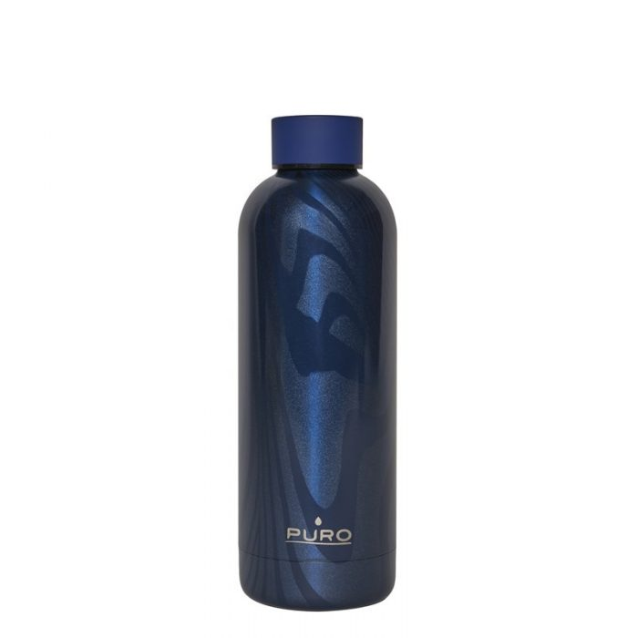puro hot&cold thermal stainless steel water bottle 500ml (optic - stripe dark blue) - export 2153