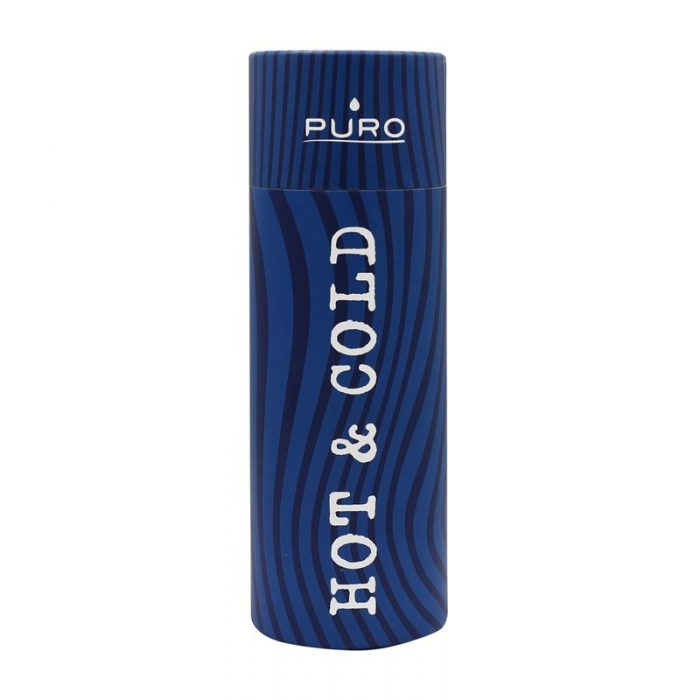puro hot&cold thermal stainless steel water bottle 500ml (optic - stripe dark blue) - export 2154