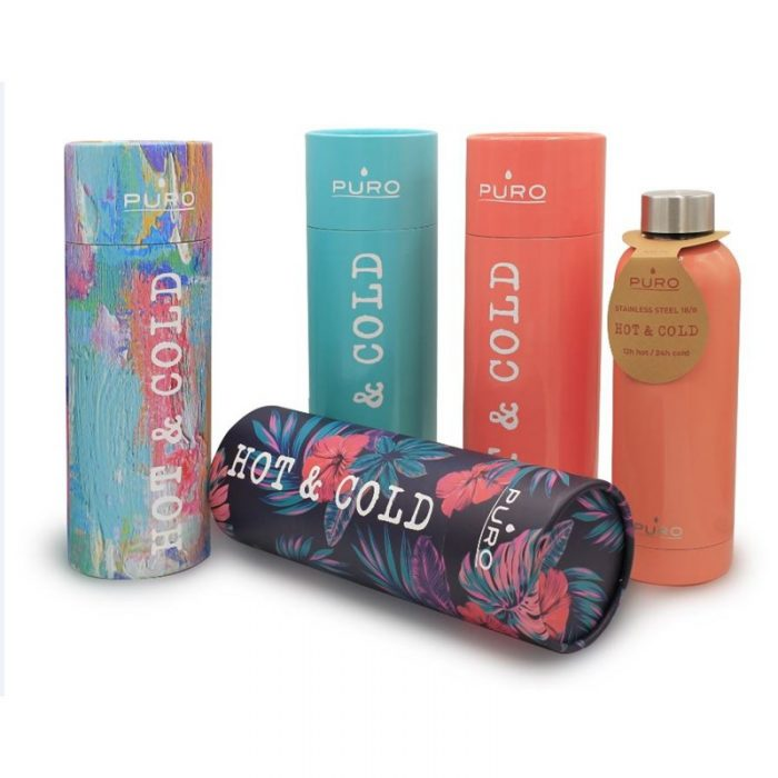 puro hot&cold thermal stainless steel water bottle 500ml (optic - stripe dark blue) - export 2155