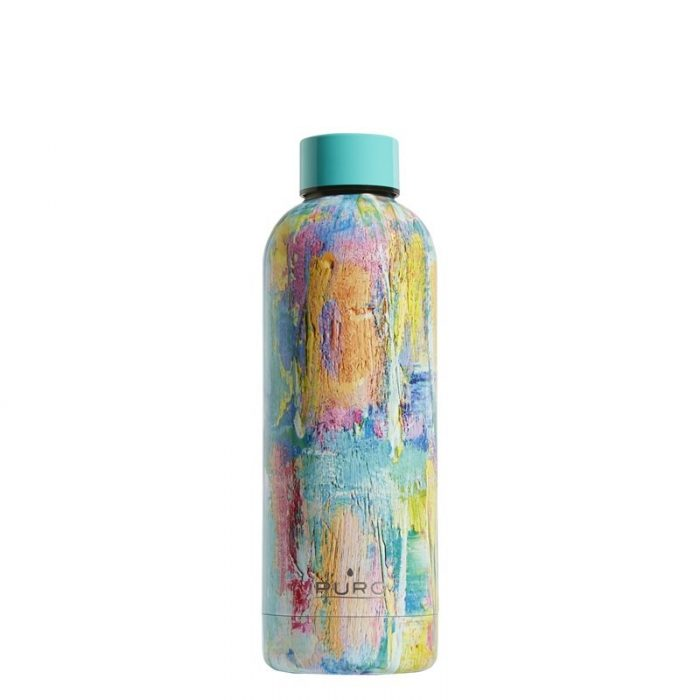 puro hot&cold thermal stainless steel water bottle 500ml (streetart - paint light blue) - export 2161