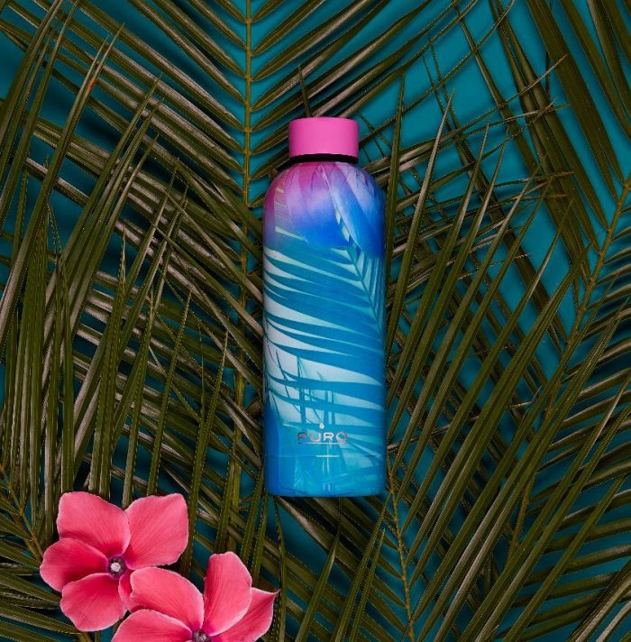 puro hot&cold thermal stainless steel water bottle 500ml (tropical - palms pink) - export 2167