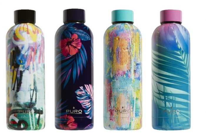 puro hot&cold thermal stainless steel water bottle 500ml (tropical - palms pink) - export 2169
