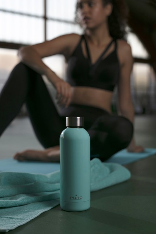 puro hot&cold thermal stainless steel water bottle 350ml (light blue) - export 2182