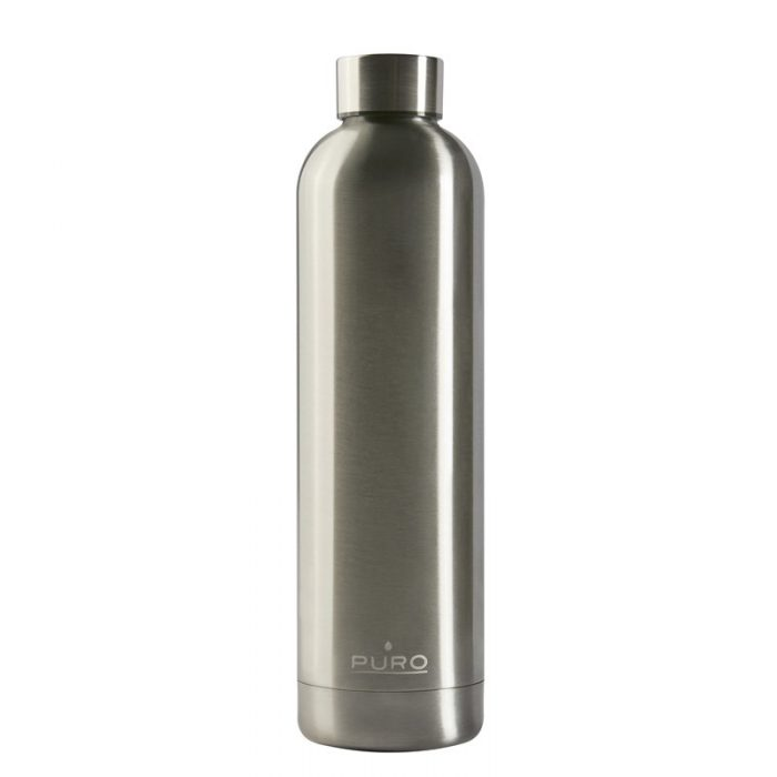 puro hot&cold thermal stainless steel water bottle 1000ml (metallic silver) - export 2191