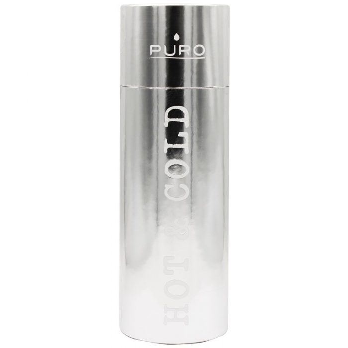 puro hot&cold thermal stainless steel water bottle 1000ml (metallic silver) - export 2192