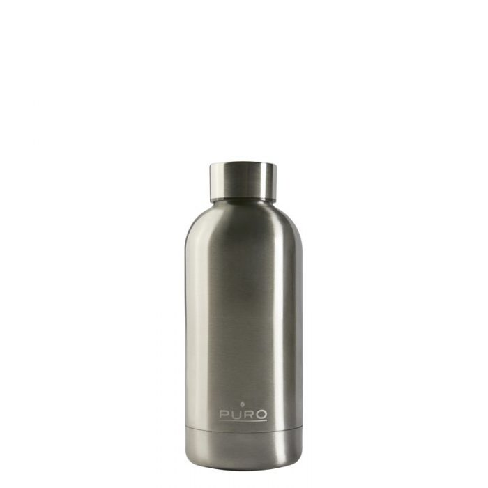puro hot&cold thermal stainless steel water bottle 350ml (metallic silver) - export 2193