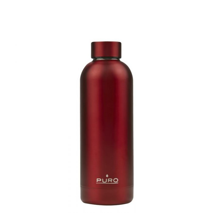 puro hot&cold thermal stainless steel water bottle 500ml (metallic red) - export 2199