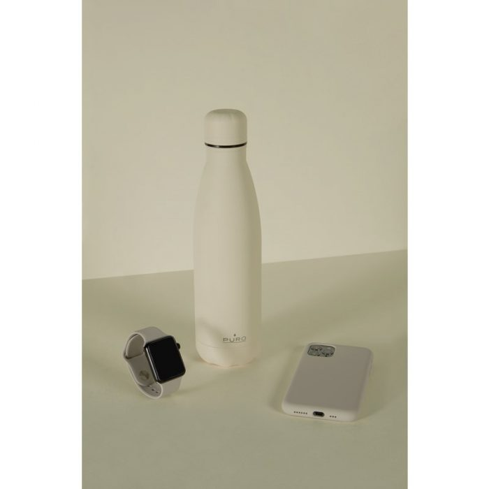 puro icon thermal stainless steel water bottle 500ml (beige) (powder coating) - export 2206